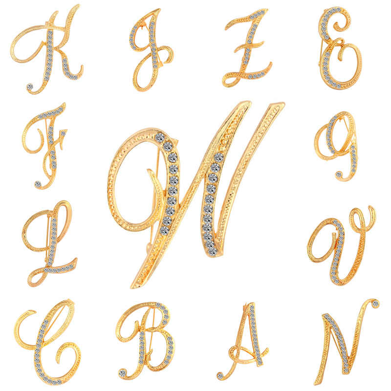 1pc New Crystal Fashion Women Brooch Chic Initial Letter Best  Rhinestone Letter A-Z  Golden Pin Alphabet Charm Jewelry