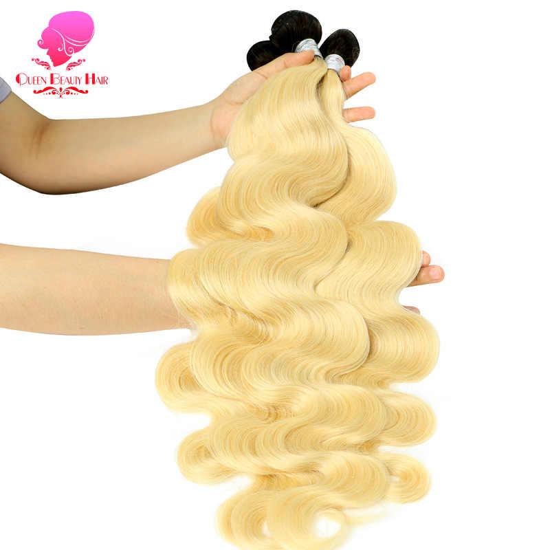 KÖNIGIN SCHÖNHEIT 1/3/4 PC Zwei Ton Ombre Farbe Brasilianische Haar 1B/613 Blonde Körper Welle Menschliche Haarwebart Bundles remy Haar Kann Gefärbt Werden