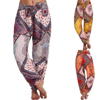 Women Bohemian Floral Print Long Pants Drawstring Loose Trousers Beach Vintage Harem Pants Soft Baggy Trousers Wide Leg Pants blue floral print flared long pants