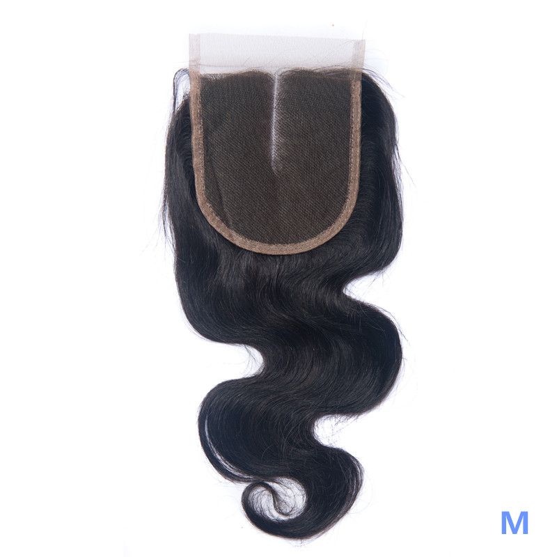 OYM HAIR Brazilian Body Wave Closure Human Hair 8-20 Inch Middle Ratio 4x4 Lace Closure Non-Remy Hair Closure Hair Extension