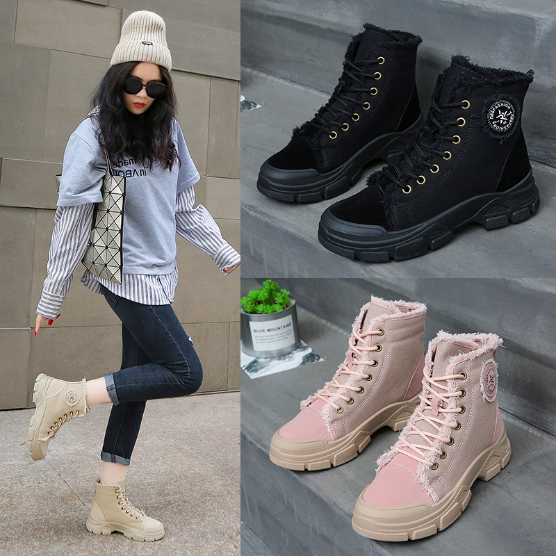 Korean Women's Casual Shoes Short Plush Trend Flats Sneaker Female Winter Outdoor Plus Velvet High-Top Martin Boots Keeping Warm