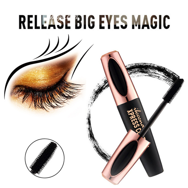 Waterproof 4DSilk Fiber Eyelash Thick Lengthening Black Mascara Fashion Sexy Makeup Cosmetics Eye Lash Extension Cream Eyelashes 5