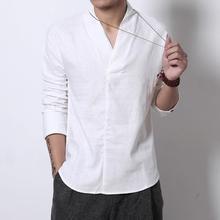 Cores do Verão Streetwear 4 Japonês Quimono de Algodão camisa De Linho Homens Retro V neck Blusa De Linho Peso Leve Camisa T Do Vintage