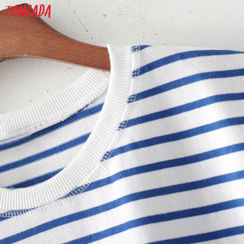 Tangada Vrouwen Vintage Gestreepte Print T-shirt Oversized Cool Korte Mouw O Neck Tees Dames Casual T-shirt Top 1D180