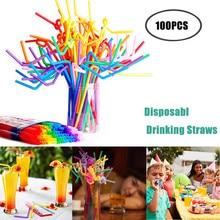 Disposable Straws Bendy Plastic Flexible 100PCS Home Assorted-Color Party