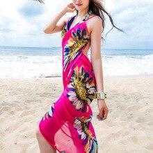 Богемное женское летнее пляжное платье, бикини, накидка для плавания, хлопковая туника, сексуальное платье с глубоким v-образным вырезом