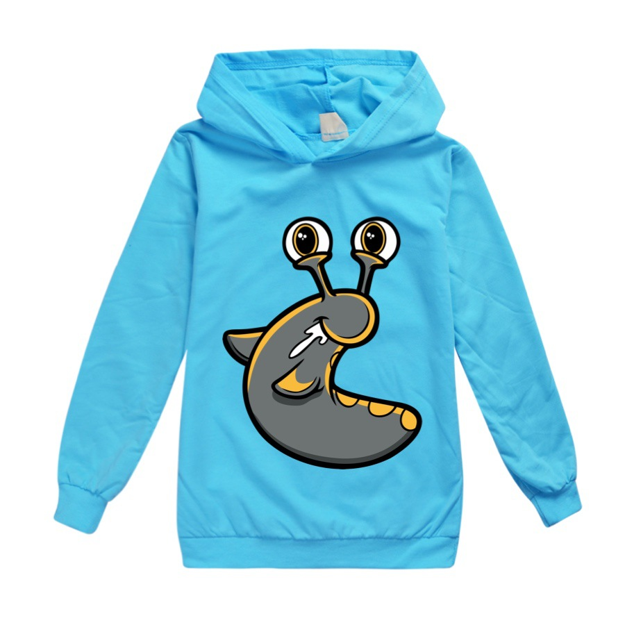 SLOGOMAN HOODY Fashion Trends Boy Hooded Bottoming Shirt Large Children's Spring and Autumn Models Girl Long-sleeved T-shirt 2