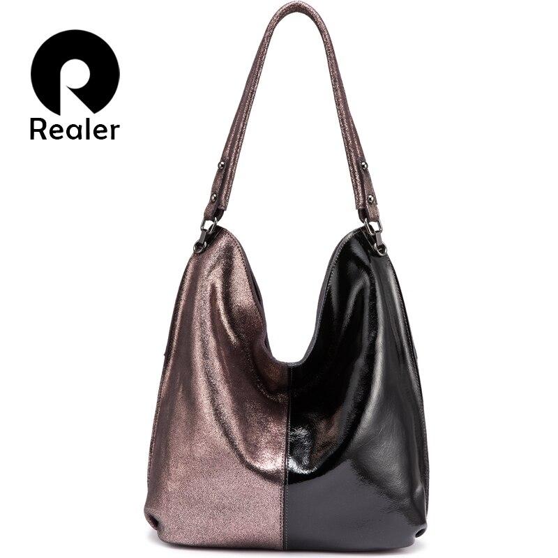 REALER femmes sac à bandoulière en cuir véritable Hobo sac pour dames 2019 Patchwork Totes femme luxe sacs à main femmes sacs designer