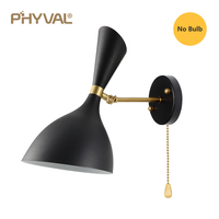 PHYVAL Wall Sconce With Switch LED Wall Light Bedroom E27 White/Black Color Wall Lamp For Living Room|LED Indoor Wall Lamps| |  -