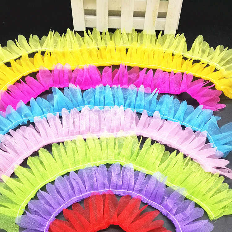 1M Lacci Guipure Petalo di Tulle Tessuto di Pizzo A Pieghe In Pizzo Trim Larghezza 3.5 centimetri Bambola Accessori di Cucito Per Il Vestito encajes dentelle JH11
