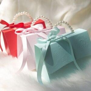 Image 1 - RMTPT Tragbare Hochzeit Party Favor Boxen Schokolade Treat Süßigkeiten Boxen mit Bändern für Hochzeit Braut Dusche Baby Dusche Geburtstag