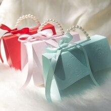 RMTPT cajas de recuerdo de boda portátil Chocolate tratar Cajas de caramelos con cintas para Boda nupcial ducha Baby Shower cumpleaños