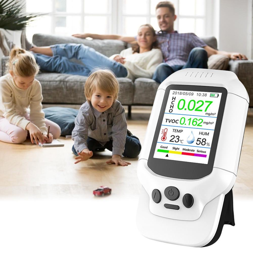 Digital Air Quality Monitor Versatile Formaldehyde TVOC Detector Temperature Humidity Meter For Indoor Pollution Monitoring