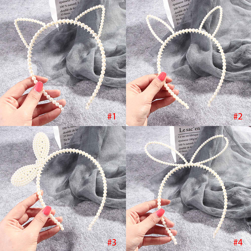 New Imitiation Pearls Hairband Elegant Headband Women   Headwear   Cute Rabbit Ear Hair Hoop Bezel for Girls Hair Accessories