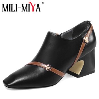 MILI-MIYA Genuine Leather Women Pumps Office&Career Shoes Square Toe Square Heels Zipper High Quality Big Size 34-43 For Ladies
