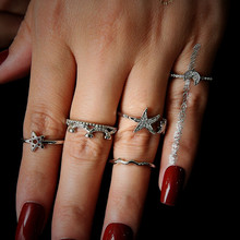 NJ  2019 New Fashion Star Crown Shaped Silver Color Ring Set Women Wedding Anniversary Gift Dropshipping