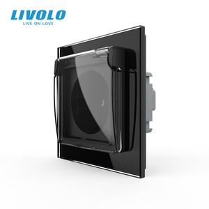 Image 3 - Livolo האיחוד האירופי תקן שקע חשמל, לבן זכוכית פנל, AC 110 ~ 250V 16A קיר שקע חשמל עם עמיד למים כיסוי C7C1EUWF 11