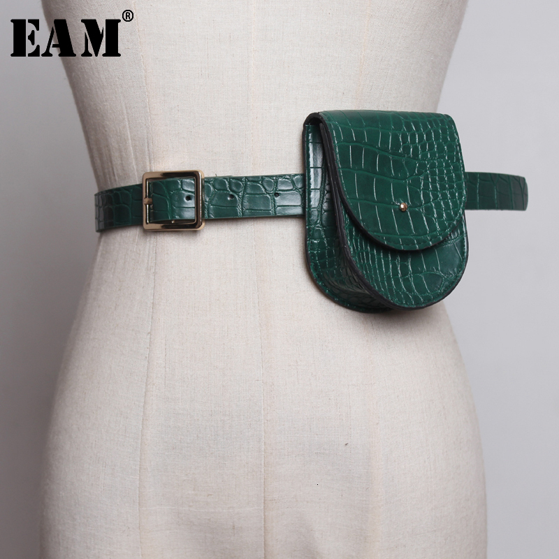 [EAM] 2020 New Spring Summer Pu Leather Personality Quarter Buckle Brief Mini-bag Long Belt Women Fashion Tide All-match JY372