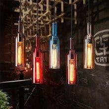 Vintage botella de cerveza luces colgantes accesorios de cristal lámpara colgante altillo Led luminaria para Bar restaurante iluminación moderna decoración del hogar