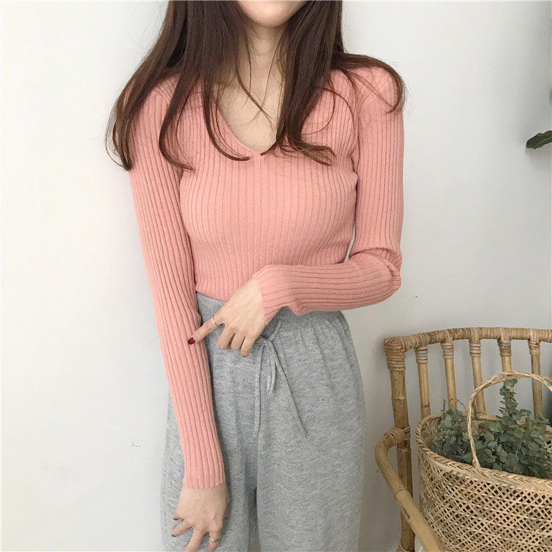 Winter Knitted Women V-Neck Solid Sweet Standard Korean Sweaters And Long Sleeve Pullovers Casual Regular Sueter Mujer Tops