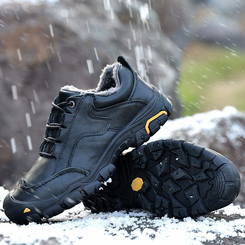 Size38-50 Extra Large Men's Winter Hiking Shoes Plus Cotton Warm Outdoor Leisure Walking Shoes