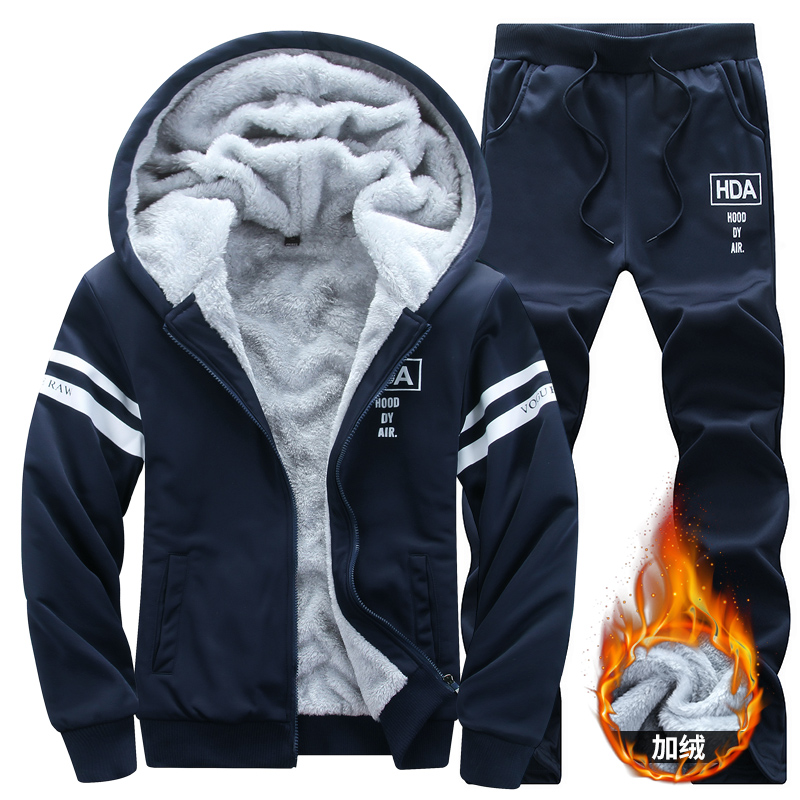 Winter Men Set Casual Warm Thick Hooded Jacket+Pants 2PC Sets Men Inner Fleece Hoodies Zipper Tracksuit Male Sports Suit Outwear