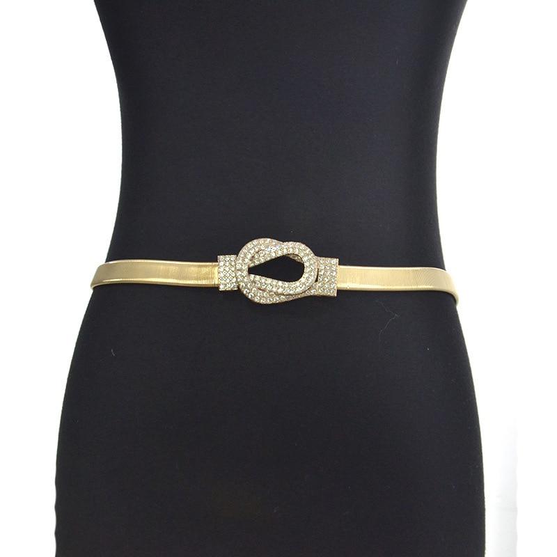 2019 New Designer Gold Elastic Stretch Waist Chain Belt Female Thin Skinny Rhinestone Overlapping Buckle Belts For Women Dresses