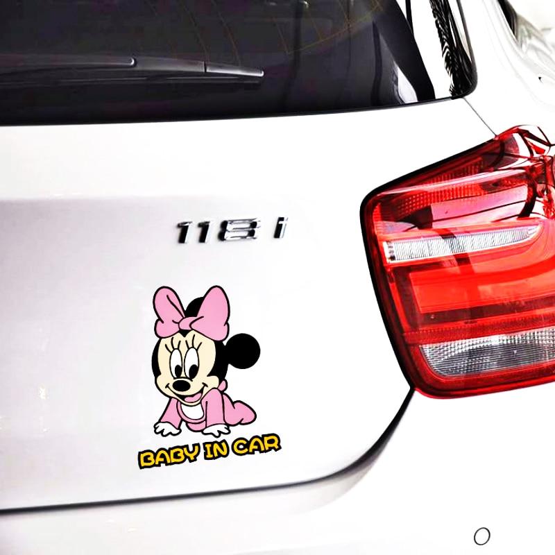 Мультфильм милый Микки и Минни Маус Мышь ребенок в автомобиле, Предупреждение автомобиля Стикеры виниловые наклейки в виде Фотообоев c переводными картинками для Audi A1 A3 A4 A5 A6 A7 Q3 Q5 Q7 RS3 RS5