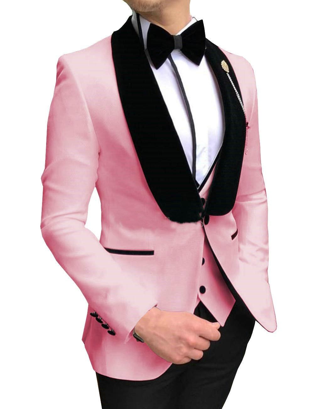 2020 Fashionable One Button Pink Groom Tuxedos Groomsmen Black Velvet Shawl Lapel Mens Wedding Suits Blazers (Jacket+Pants+Vest)