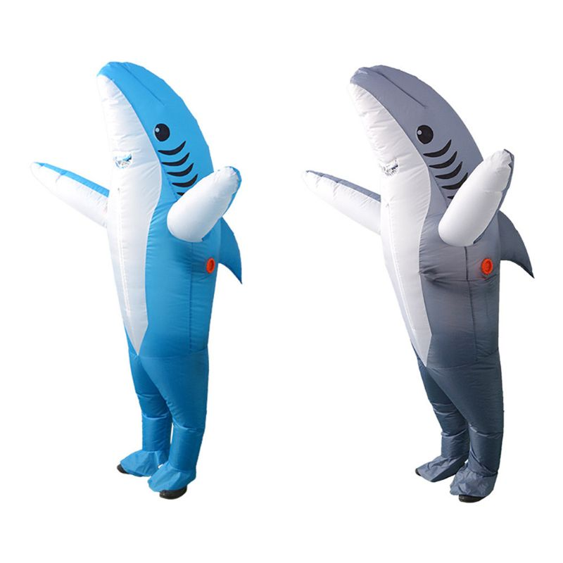 Adult Shark Fancy Dress Costume Funny Inflatable Blow Up Carry Ride On Outfit Fat Suit Halloween Cartoon Cosplay Accessories
