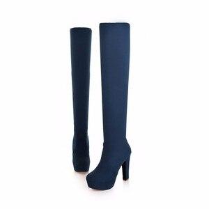 Image 4 - QUTAA 2020 yeni kadın çizmeler seksi moda diz çizmeler üzerinde seksi ince kare topuk çizme platformu kadın ayakkabı siyah boyutu 34 43