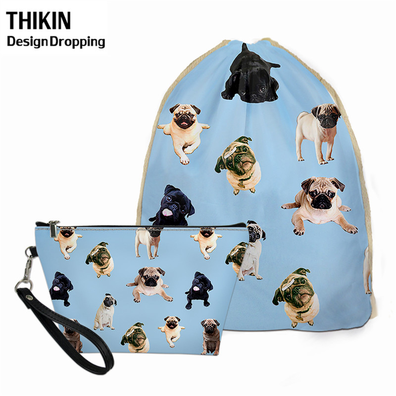 THIKIN Cartoon Pug Dog Lover School Supplies Drawstring Bags For Children Travel Daily Bagpack Women 2pcs Make Up Toiletry Bag