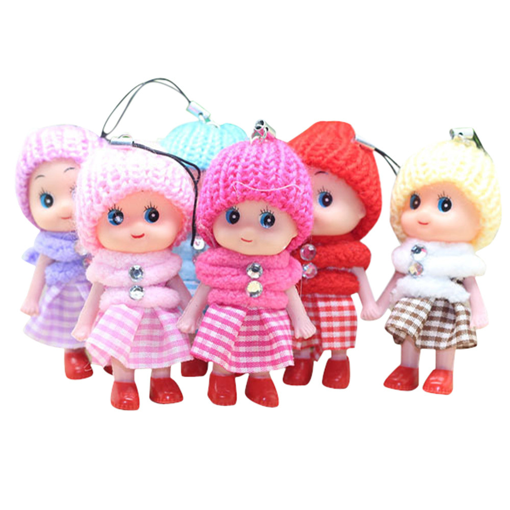 Mini Dolls Toy 5Pcs Kids Soft Interactive Baby Dolls Toy Mini Doll For Girls And Boys For Smartphone Plush Keychains L1119