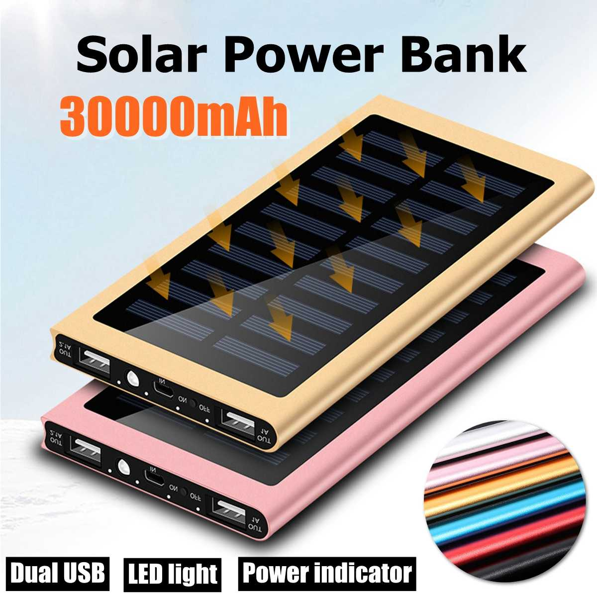 30000mAh Solar Power Bank Solar Charger External Battery Backup Pack For Cell Phone Tablets For Iphone