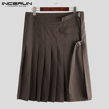 INCERUN Vintage Scottish Men Skirts Solid Color Personality Trousers Streetwear Traditional Kilt Retro Mens Pleated Skirts S-5XL(China)