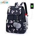 Школьный рюкзак OKKID с розовыми цветами для девочек  Женский дорожный рюкзак для ноутбука  usb-рюкзак для детей  школьная сумка для студентов