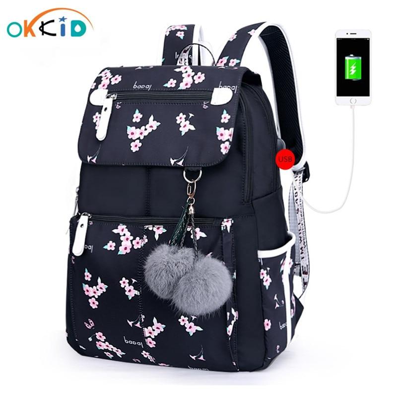 OKKID Pink Flower School Backpack For Girls Women Travel Laptop Backpack Usb Charging Backpacks For Children Student Schoolbag