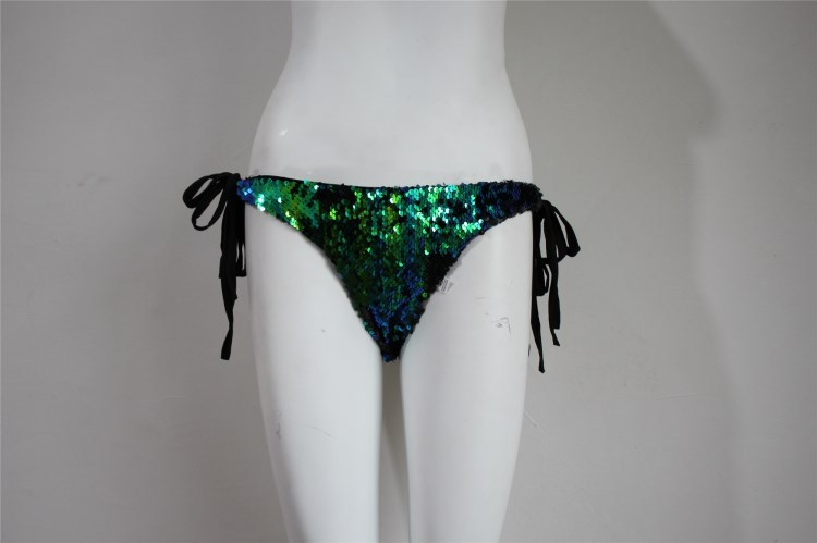 2019 Europe And America Hot Selling Colorful Green Color Changing Sequin Sexy Bandage Cloth Swimming Trunks Briefs