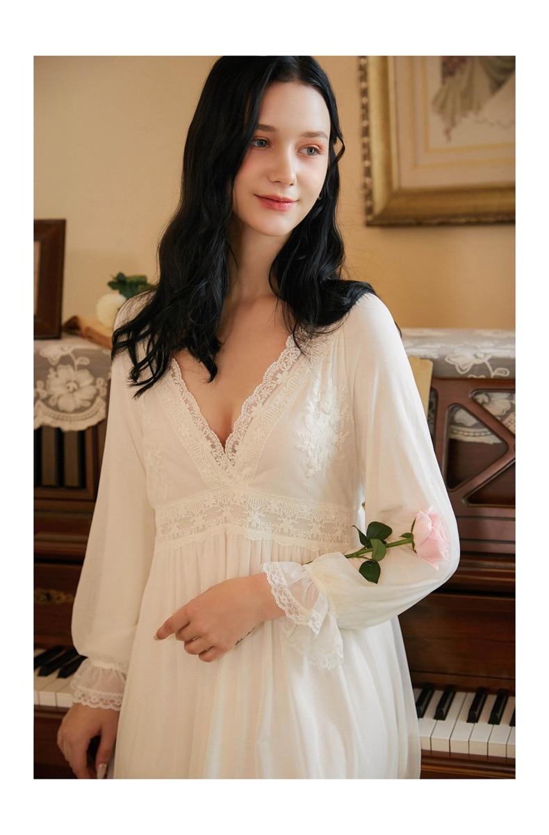 Женская винтажная ночная рубашка из хлопка и модала в викторианском