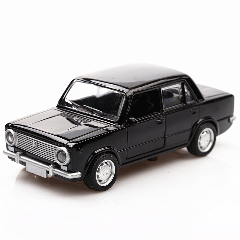 1/36 DieCast Car Model 12.5Cm Soviet Classic Lada Car Toys Vehicles For Kids Pull Back Car 2 Openable Doors