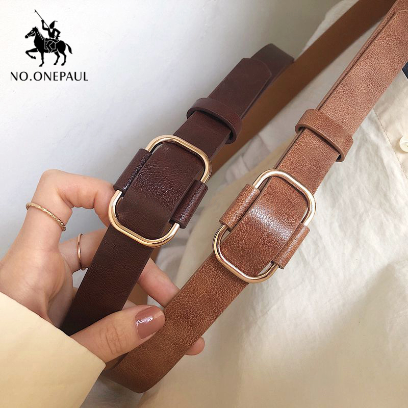 NO.ONEPAUL  Ladies Luxury Brand Belt Authentic Leather Ladies Trend Retro Punk Student Youth  Cutes Belts The Women For Belt