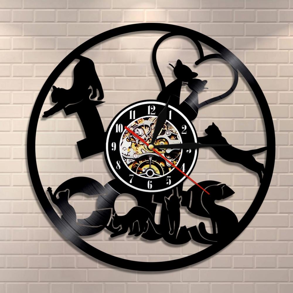 I Love Cats Vinyl Record Wall Clock Funny Cats Modern Wall Clock Kitten Silhouette Wall Art Decorative Clock Cat Owner Gift