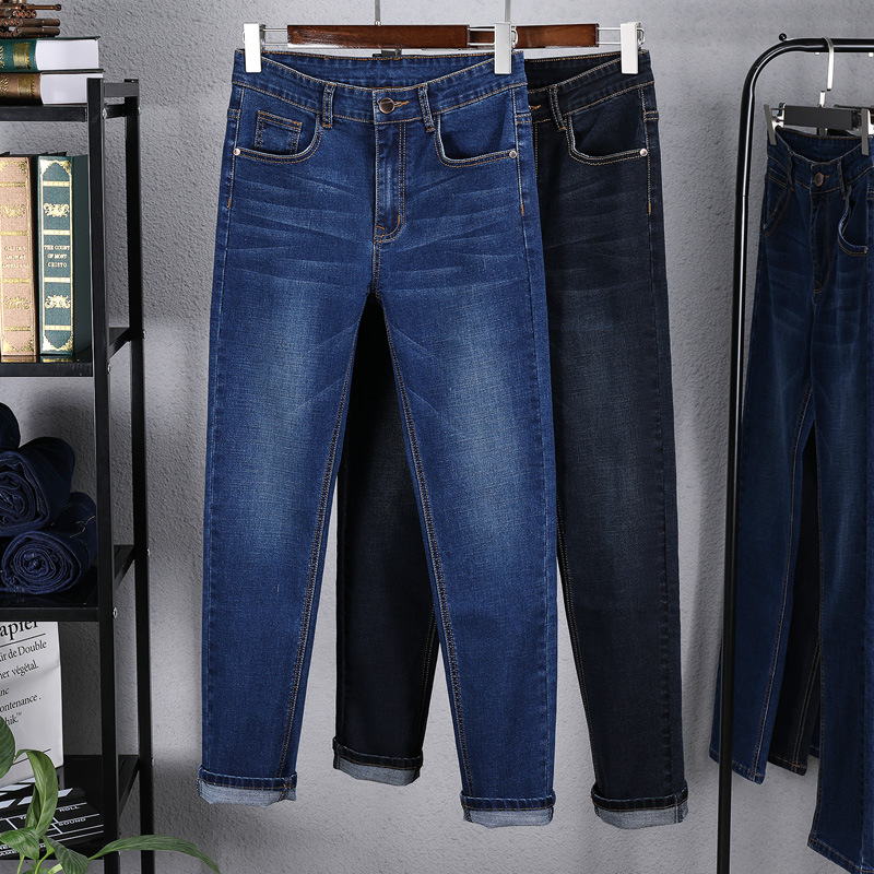 2019 Jeans Men's Straight-Cut Loose-Fit Youth Elasticity Men Casual MEN'S Trousers Trend Autumn And Winter