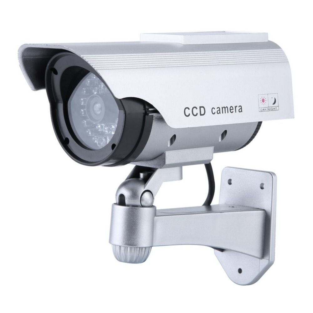 Solar Powered Dummy CCD Camera Outdoor Indoor Security Surveillance Simulation Camera Built In Flash LED Light