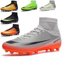 Wysokie buty do piłki nożnej męskie, złamane paznokcie junior boys gra buty treningowe AG, sztuczna murawa piłkarska buty do piłki nożnej