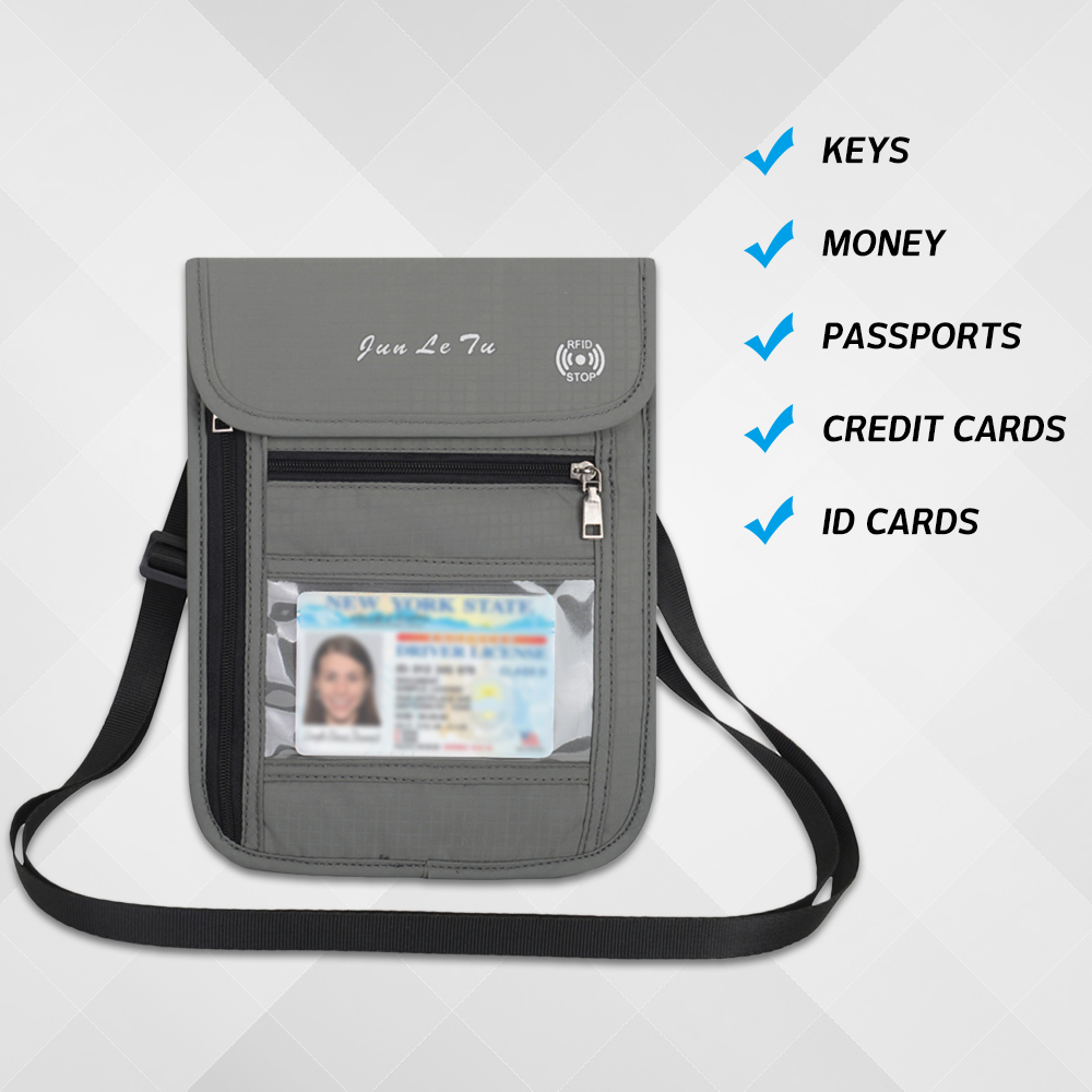 Lixada Neck Pouch Wallet Key Bag RFID Blocking For Men Women Passport Holder Document Organizer Card Pack Nylon 5 Pockets Travel