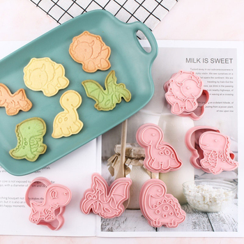 6pcs/set Dinosaur Shaped Cookie Cutter Mold 3D Biscuit Fondant Cake Baking Mould custom made 3d printed star wars logo fondant cookie cutter set