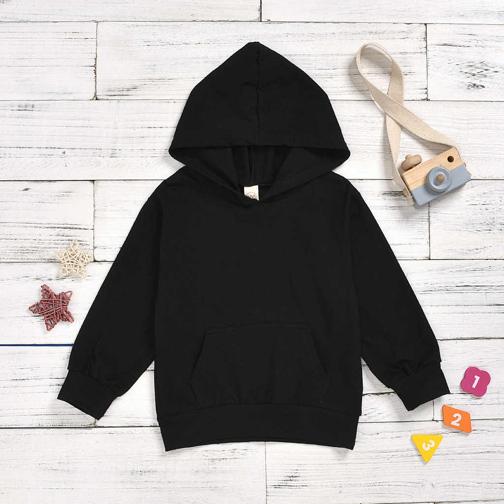 Toddler Kids Hoodies Baby Boys Autumn Clothes Black Hooded Sweatshirts Infant Letter Blouse Hoodies Tops Sweat Enfant Garcon