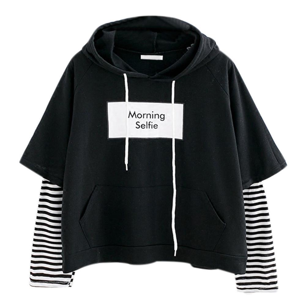 40# Women striped Hoodies tops Ladies Sweatshirt Hooded Long Sleeve Hoodies  Crop top Patchwork Pullover Drawstring Sweatshirts
