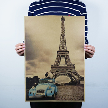 France Iron tower The Classic Kraft Paper Poster Bar Cafe Mural Home Decoration Decorative Paintings Wall Sticker image